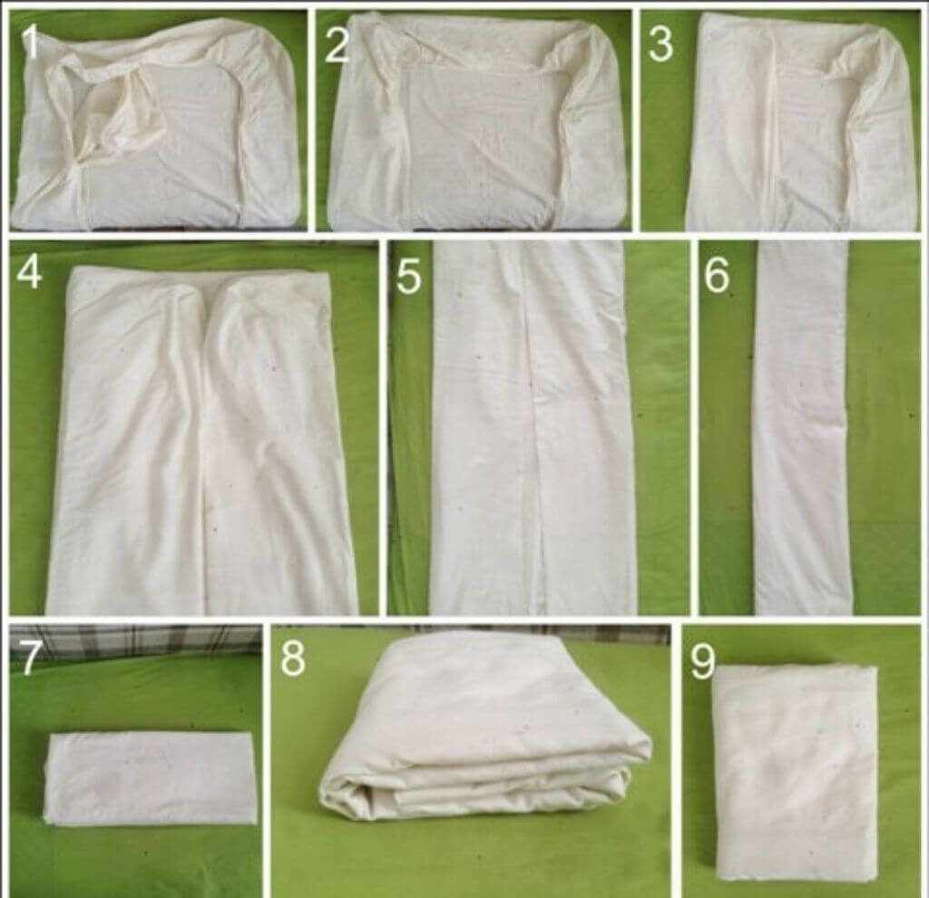 как сложить простынь на резинке