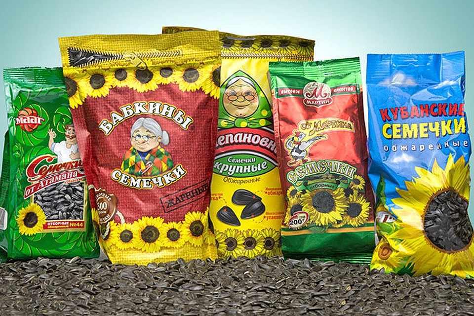 Упаковки семечек различных производителей