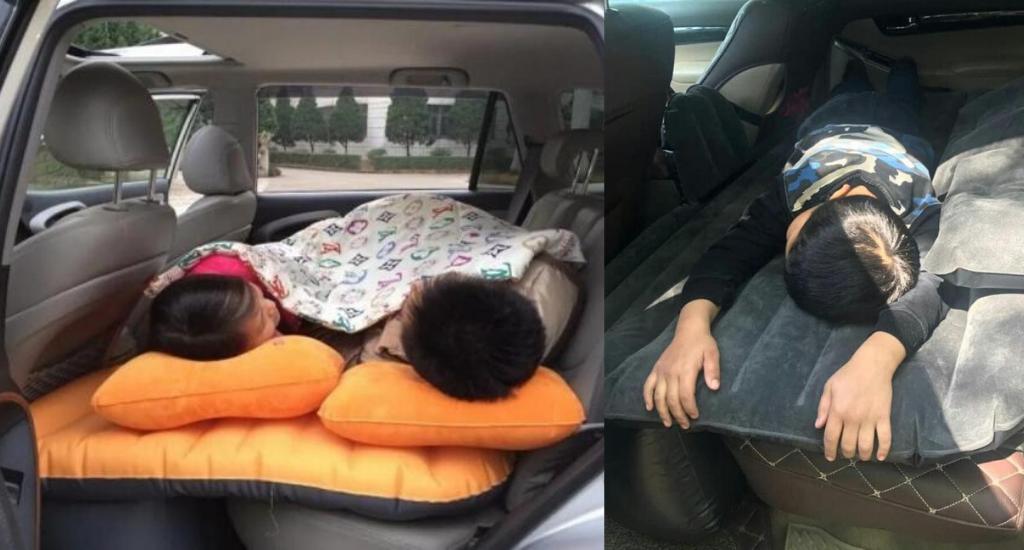 Дети спящие на надувном матрасе в машине