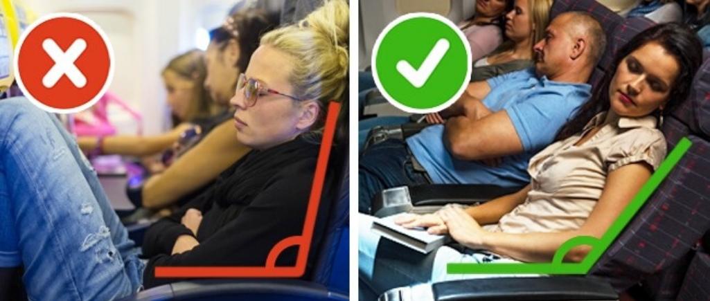 Правильное положение кресла самолета для сна
